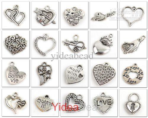 Wholesale charms buy bulk 160x mix heart shape tibetan silver wholesale charms buy bulk 160x mix heart shape tibetan silver charms pendant fit necklace 141376 aloadofball Images