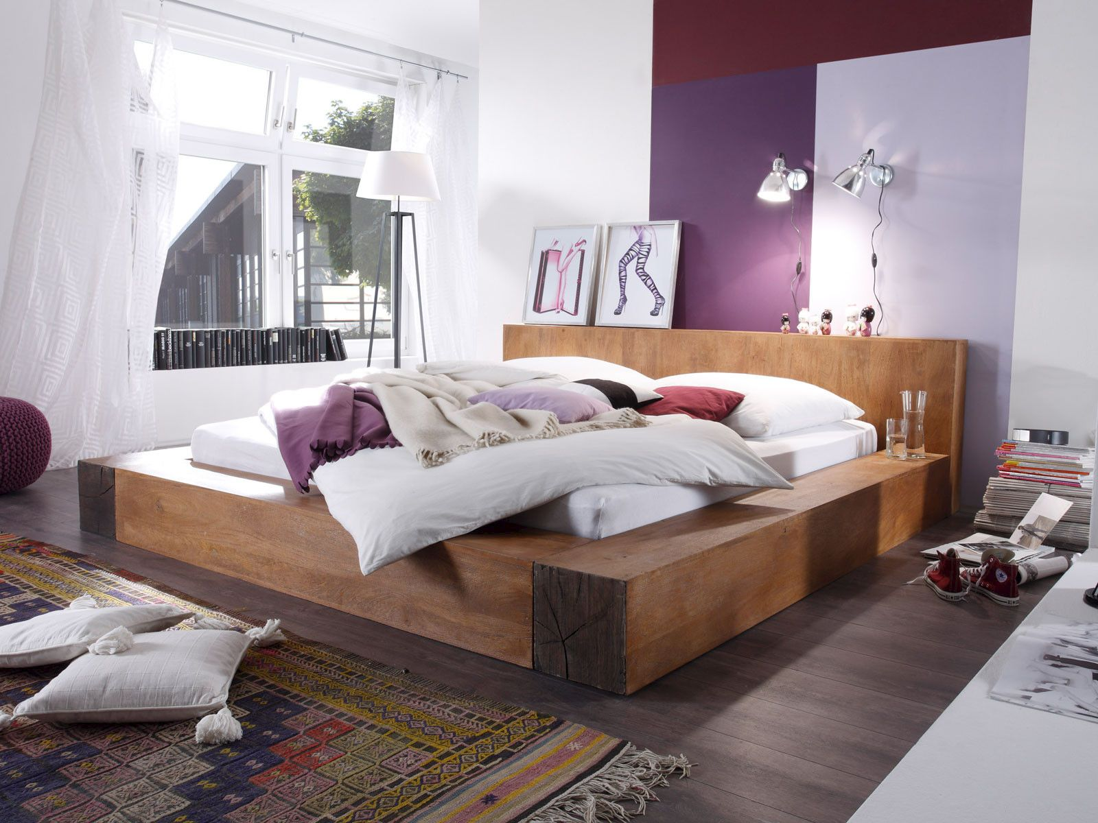 Mangoholzbett Dunas Bett mit schubladen, Bett ideen und