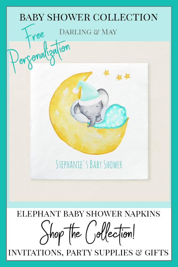 Cute Baby Elephant on the Moon Baby Shower Napkin    Cute baby shower napkins with elephant asleep on the moon. Free personalization. Sweet gender neutral color palette for elephant baby shower for a boy or a girl.