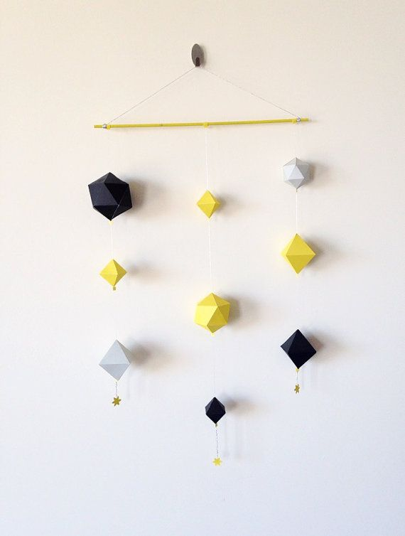 Home Decor, Paper wall Hangings, Paper geometric shapes, Geometric shapes wall decor.