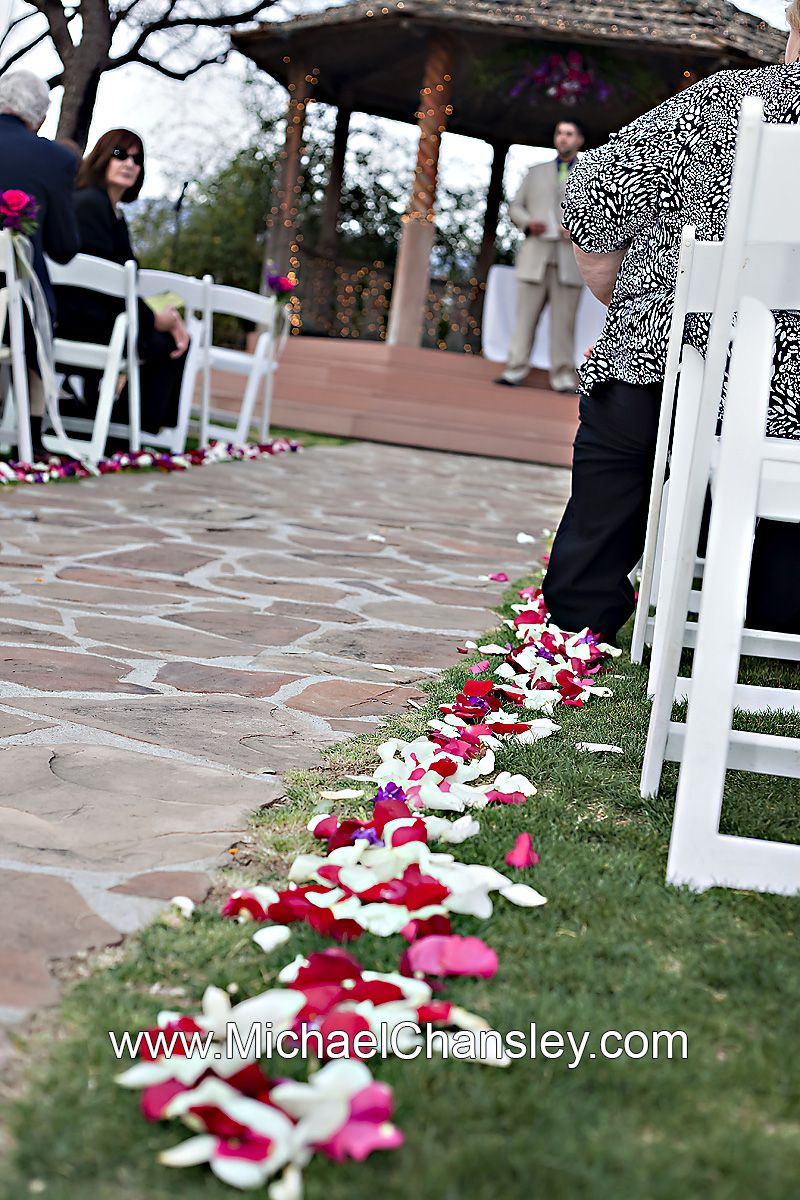 Wedding Aisle Lined With Flower Petals At La Mariposa Resort Venue In Tucson AZ Arizona