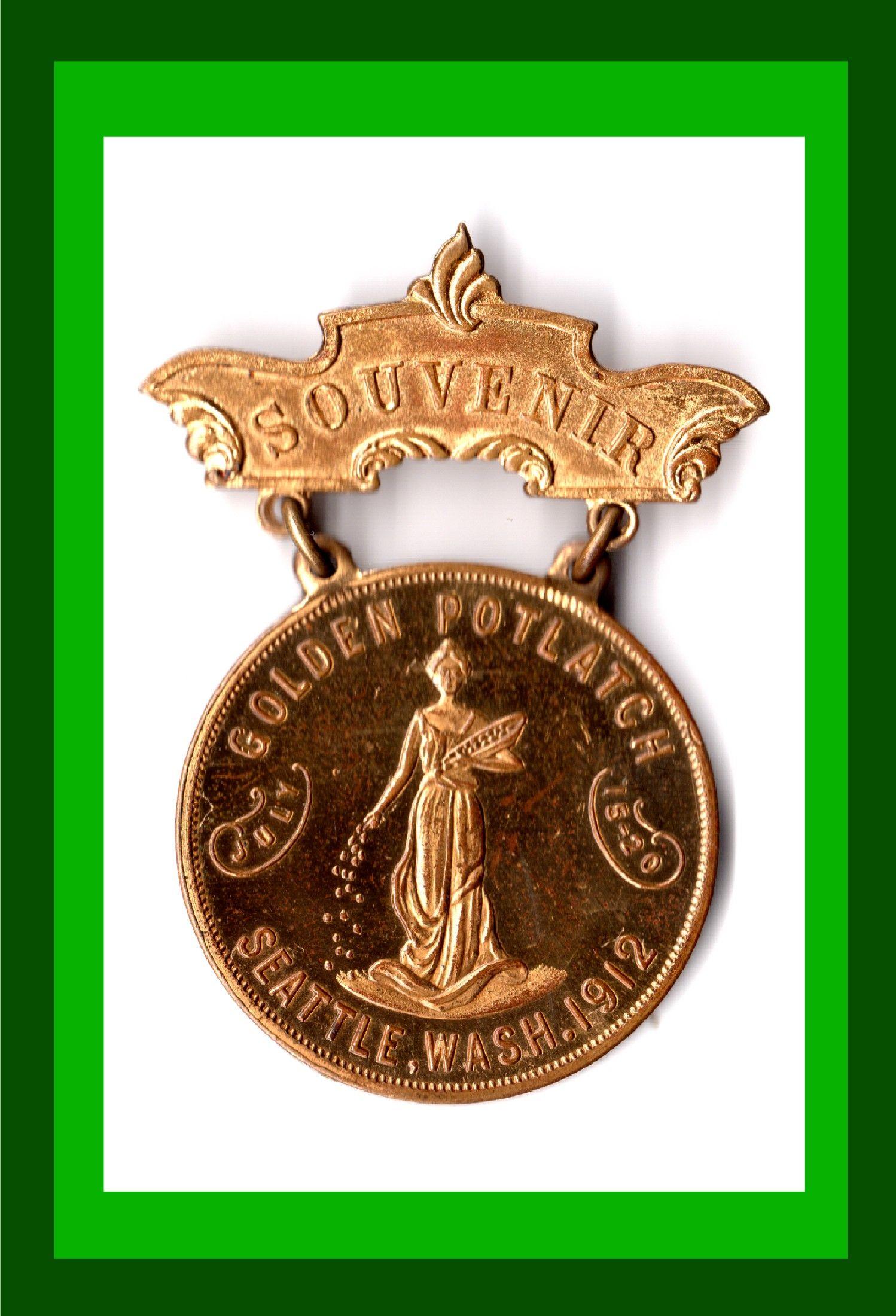 1912 golden potlatchsouvenir medal with liberty obverse