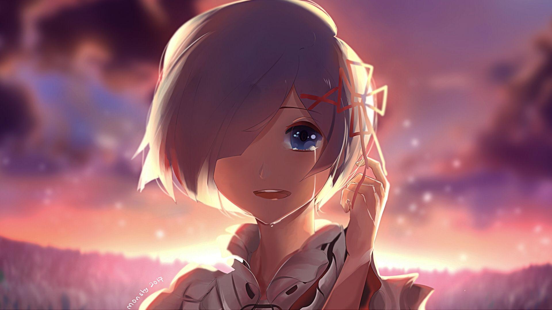 Rem, Re Zero, Happy Tears, Short Hair, Smiling