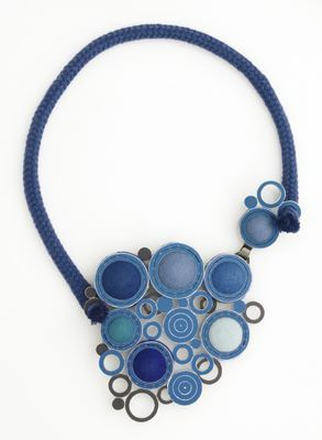 "Ingeborg Vandamme  Necklace: ""Day and Night""  Anodized aluminum, silver, felt, foam, cord  http://www.ingeborgvandamme.nl/"