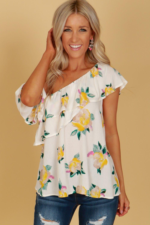 8b52272322a95e One Shoulder Flower Print Blouse Ivory | Summer | Pinterest | Flower ...