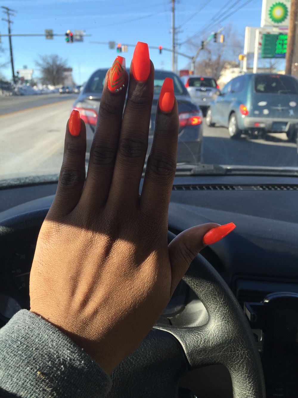 Neon orange construction nails acrylic design matte | Nails ...