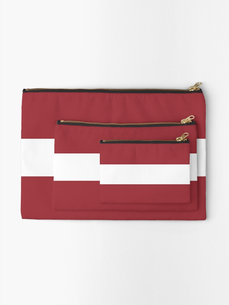 Flag Of Latvia Pattern Horizontal Stripes Red White Red Zipper Pouch By Disordershop Redbubble Horizontal Stripes Red And White Pouch