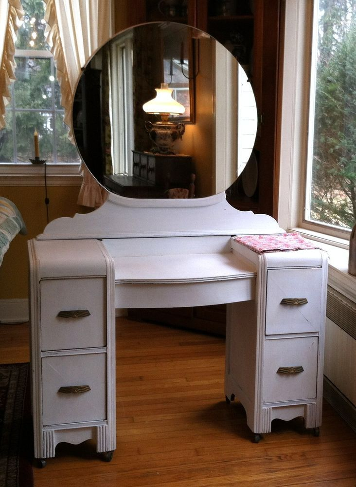 1939 Art Deco Vanity Dressing Table With Mirror In Shabby Distressed White Shabby Chic Dresser Art Deco Bathroom Vanity Dresser Design