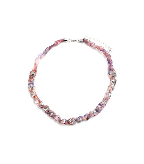 "Smokey Gray Stones Necklace with Woven Through Ribbon.    Code: BN73  Price: $45.00      Length: 16"" + 4"" Extension, Clasp: Adjustable Lobster Claw, Smokey Gray Stones, Pink/Purple Woven Through Ribbon, Nickel and Lead Compliant, (Hypoallergenic)  #Necklace Necklace"