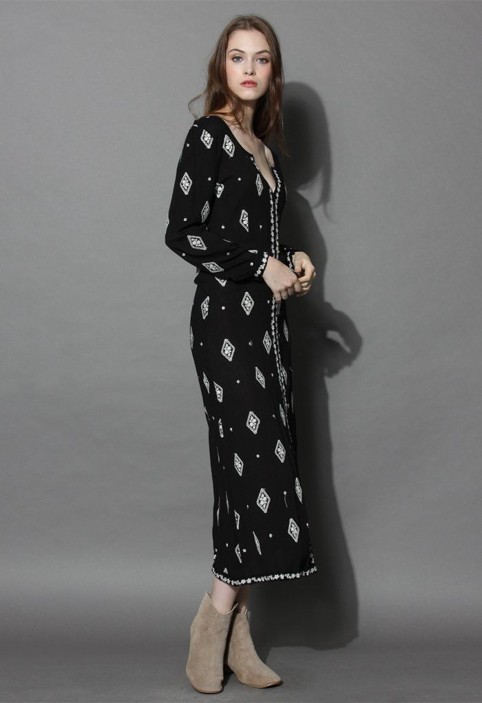 Posies Embroidered Dress in Black - Maxi - Dress - Retro, Indie and Unique Fashion