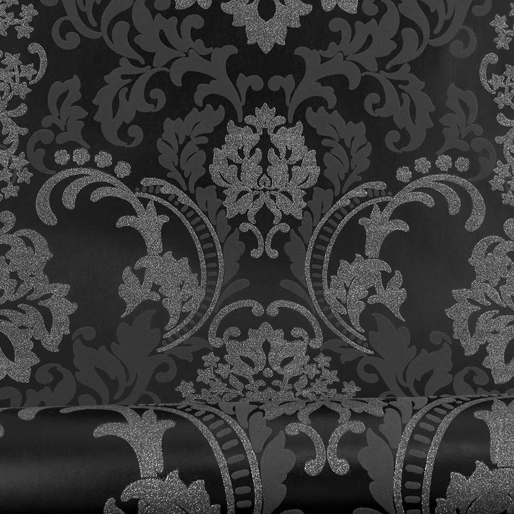 Amazon Com A S Creation As361663 Fleece Wallpaper Embossed Glitter Textured Pattern Vinyl Wallpaper Patterned Vinyl Vinyl Wallpaper Black Wallpaper