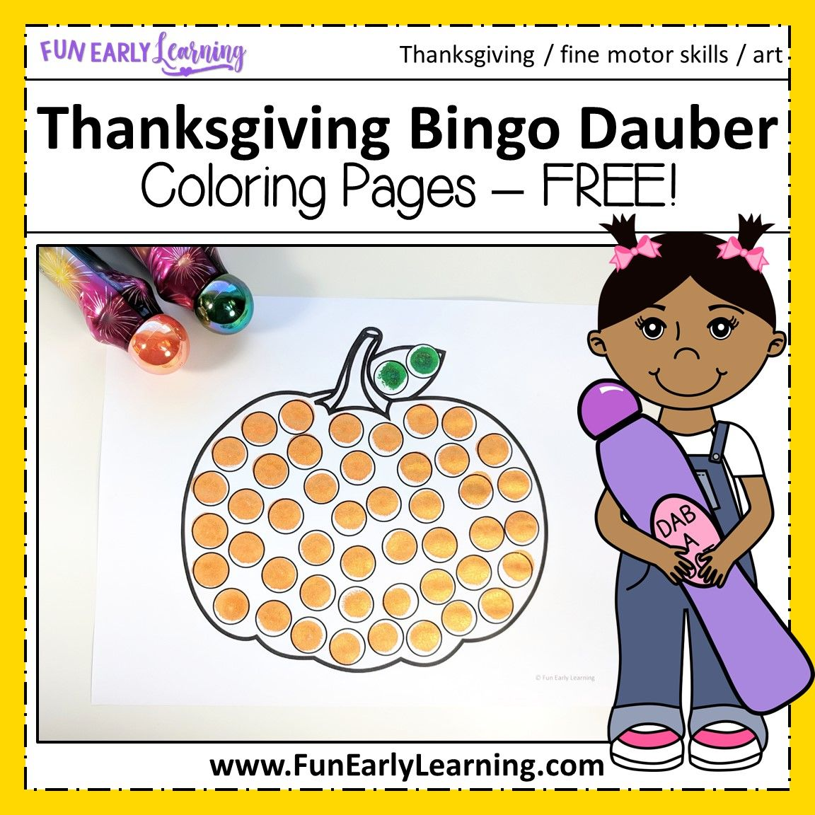 Thanksgiving Bingo Dauber Coloring Pages