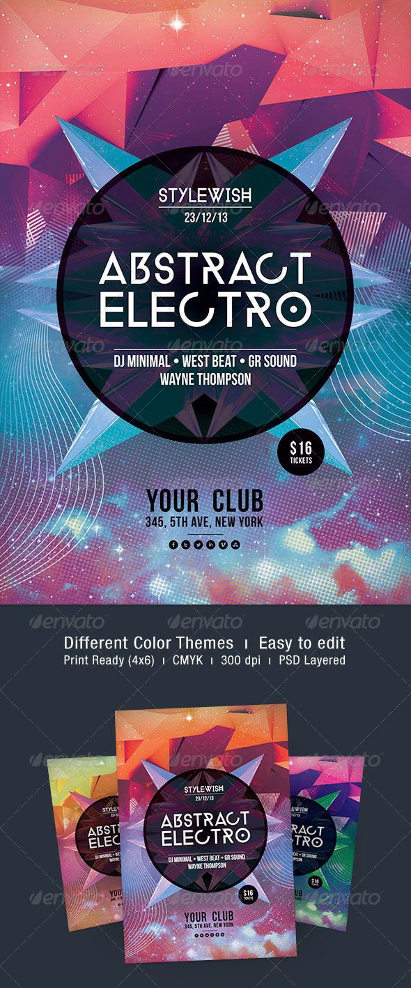 Abstract Electro Flyer  Electro Music Typo And Fonts