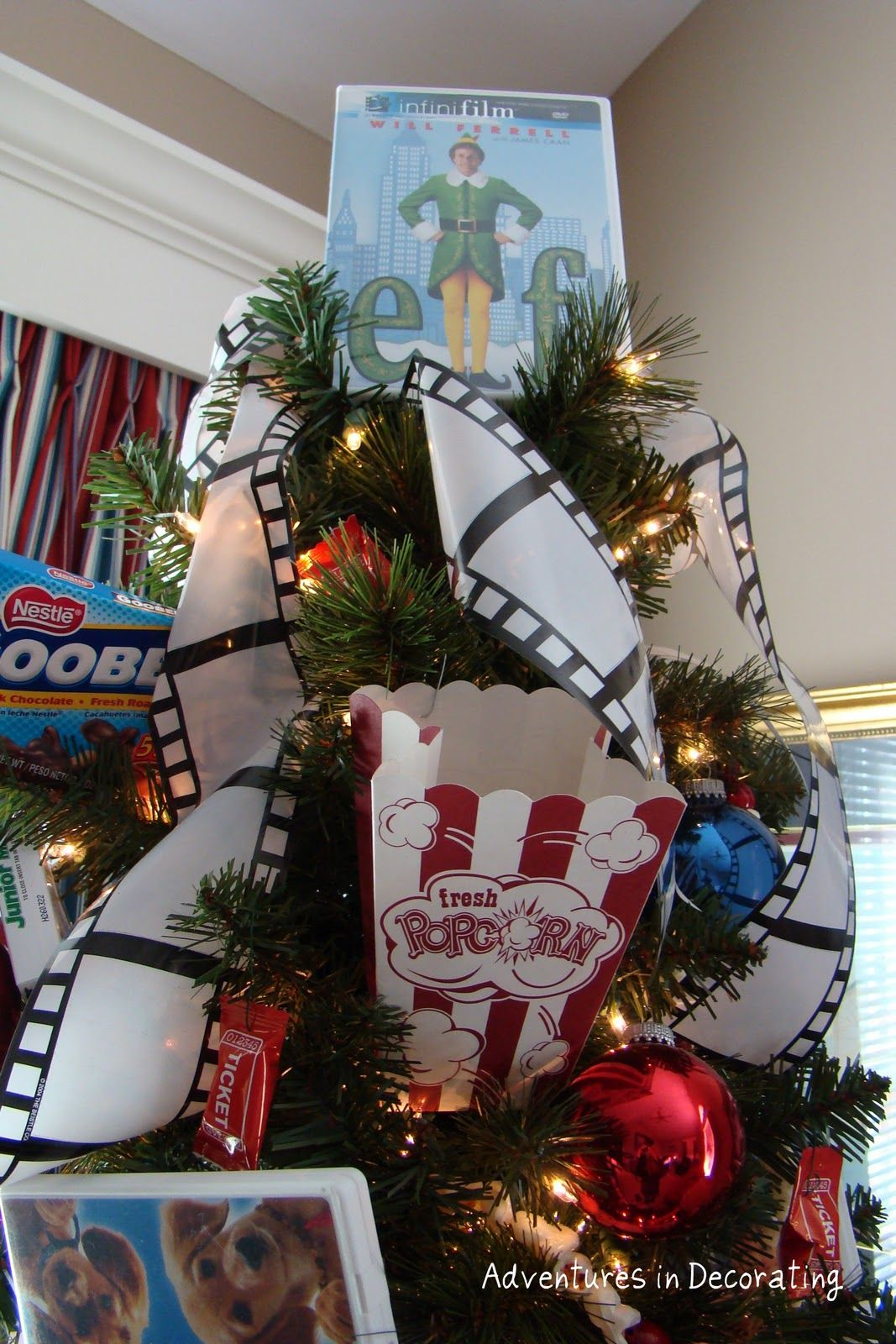 cute tree idea for the T.V. room empty the tree by christmas day :) I