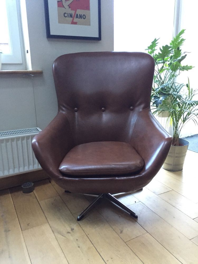 Lovely High Back Swivel Chair In Great Vintage Condition, A Few Faint Marks  Hardly Noticeable