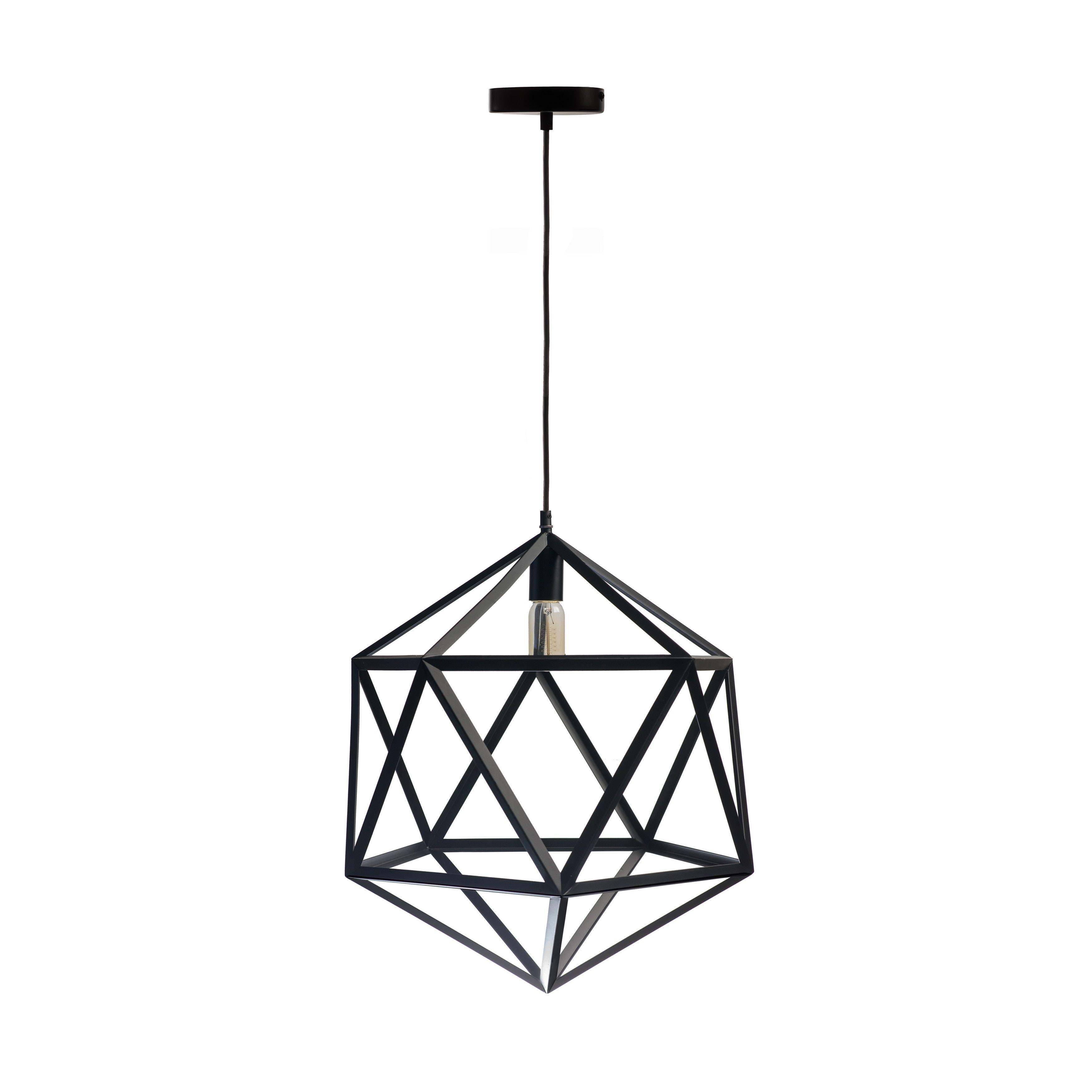 Finesse black geometric cage vintagestyle bulb pendant light