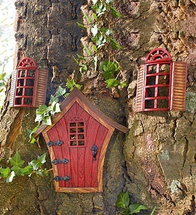Fairy door and windows fairy garden ideas pinterest for Idea behind fairy doors