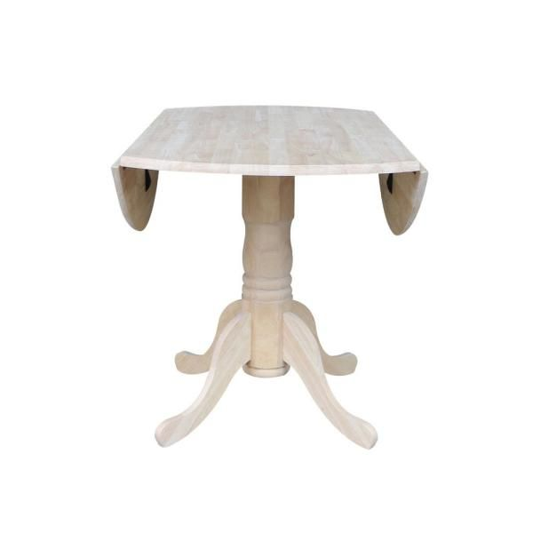 International Concepts Unfinished Round Drop Leaf Dining Table-T-42DP - The Home Depot