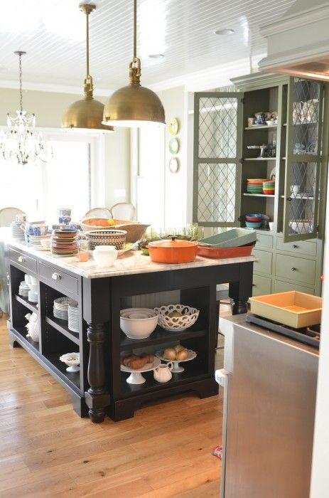 Open Shelves On The Island Leaded Glass Doors On The Green Hutch