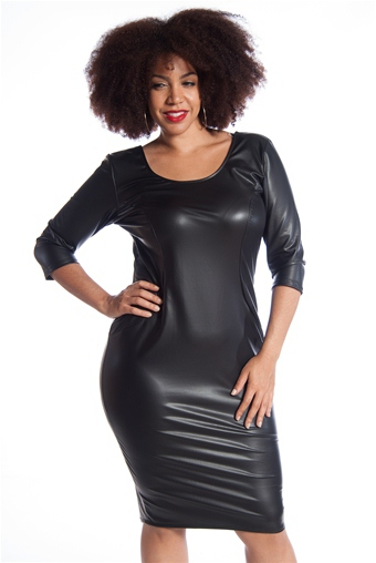 Scoop Back Plus Size Faux Leather Midi Dress Black From Libian At