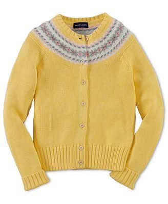 e6a54a7961cd5 Ralph Lauren Kids Sweater, Girls Fairisle Yoke Cardigan | Kya ...