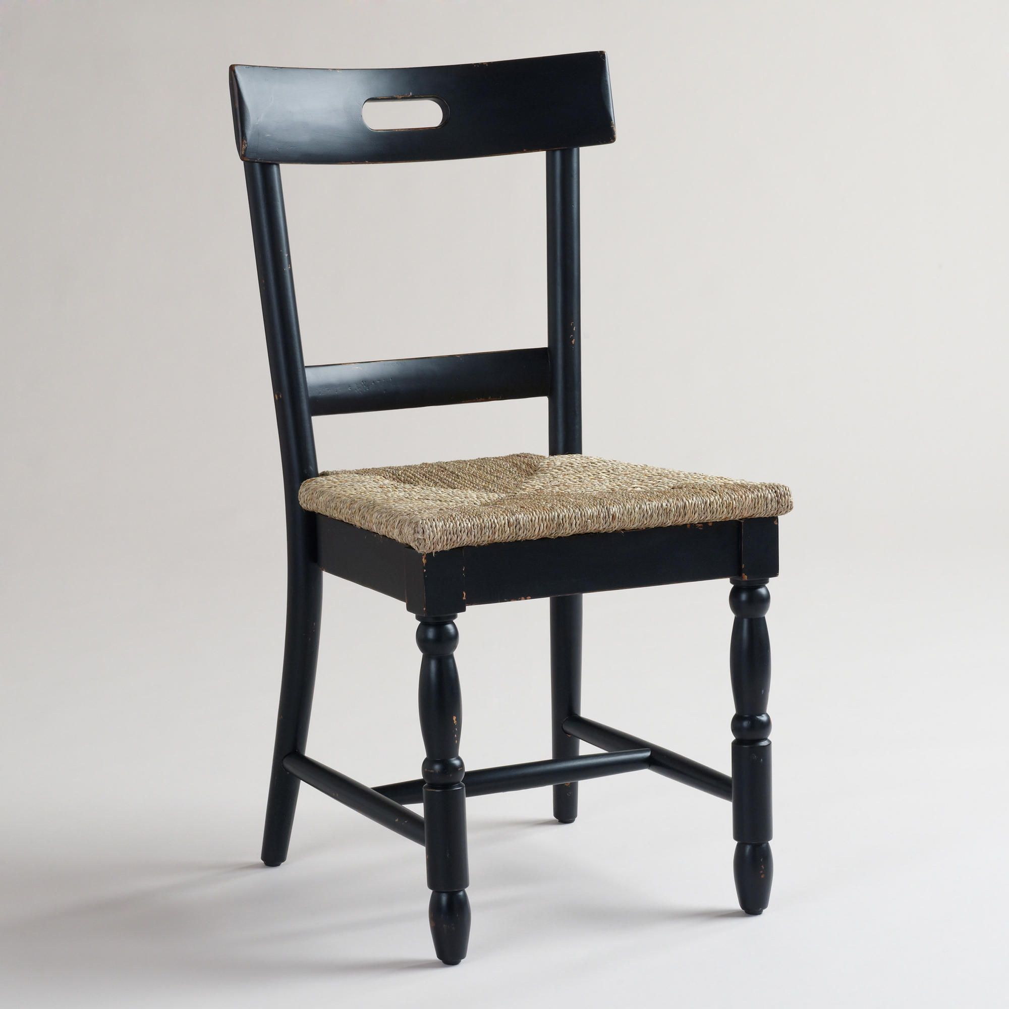 Black Camille Chairs with Rush Seat, Set of 2 | World Market | Pour ...