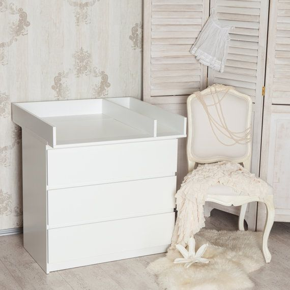 Puckdaddy Changing Top Separation Compartment Changing Table Top For Ikea Malm Dresser In White Ikea Malm Ikea Baby Ikea Malm Dresser