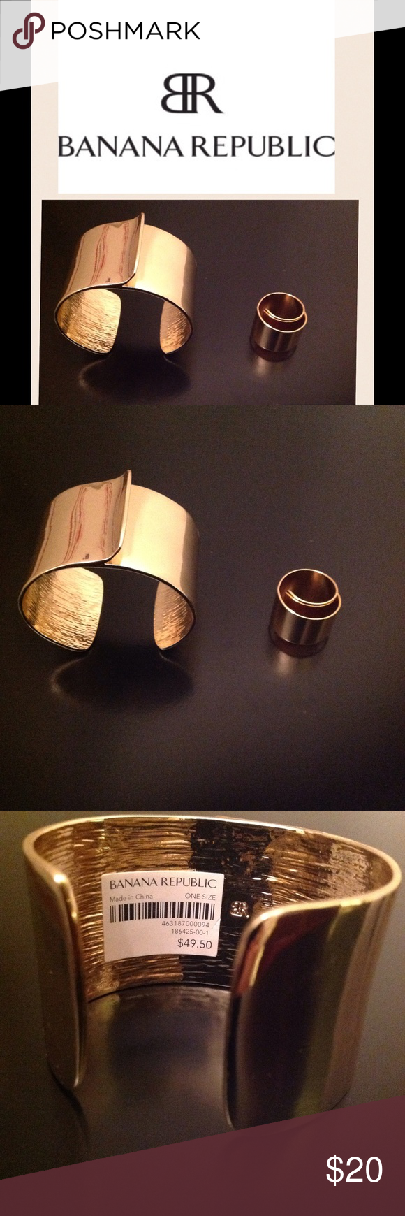 NEW BR gold tone ring and cuff bracelet. NEW with tags Banana Republic gold tone ring and cuff bracelet.  Ring size 8.  Ring original price $39.50 and cuff bracelet original price $49.50.  No trades. Jewelry Bracelets