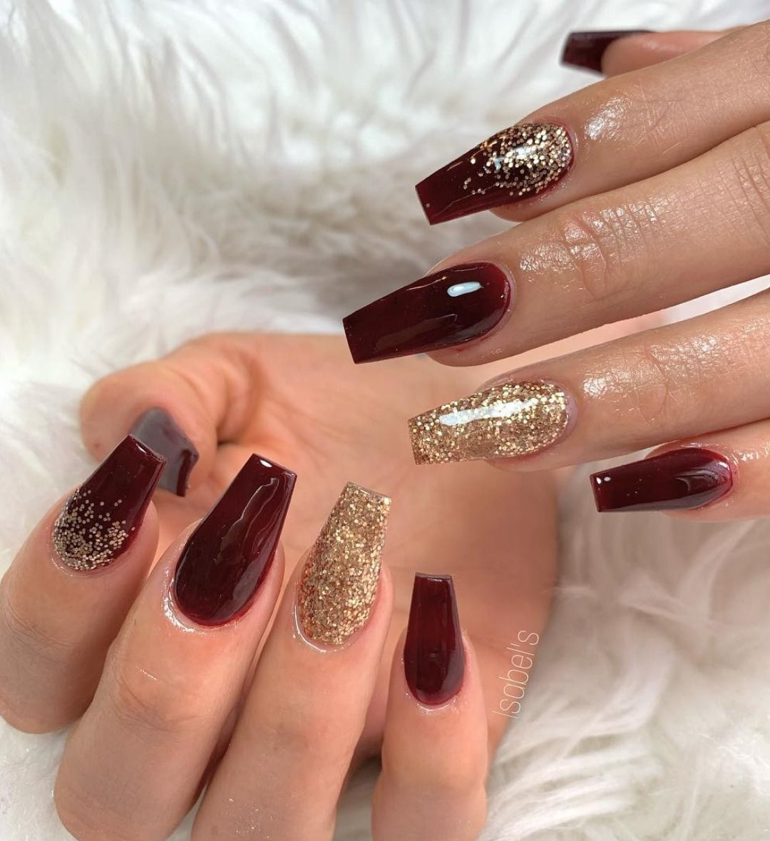 The Best Nail Trends For Cute Fall Manicure Stylish Belles Gold Acrylic Nails Burgundy Nails Burgundy Nail Designs
