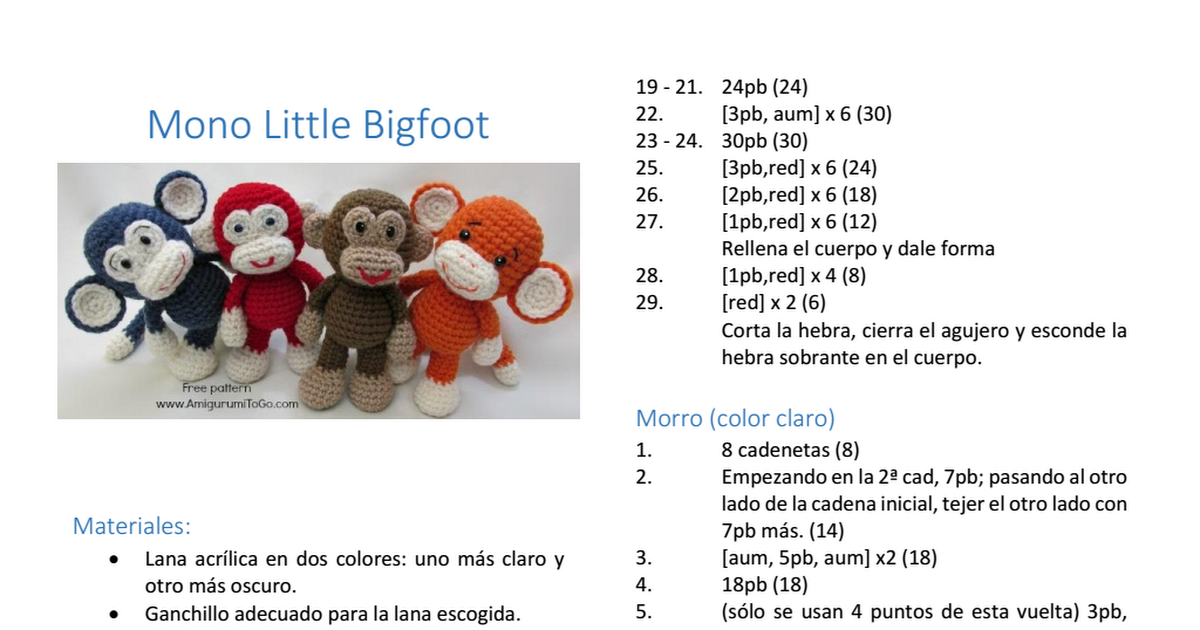 Mono Little Bigfoot.pdf | Crochet | Pinterest | Patrones amigurumi ...