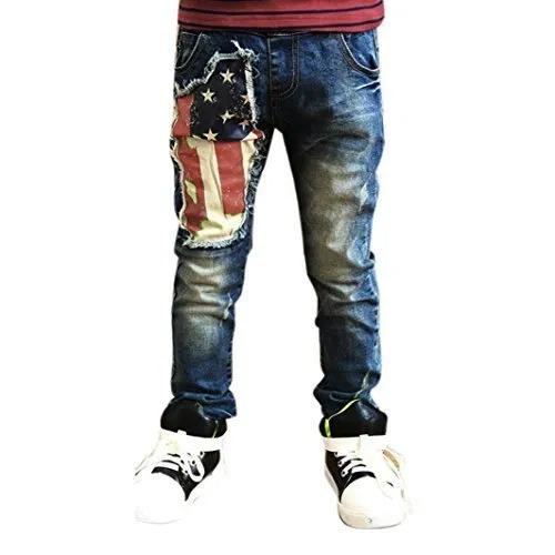Baby Kids Boys Printing Zipper Stretch Jeans Pants Elastic Waist Denim Trousers