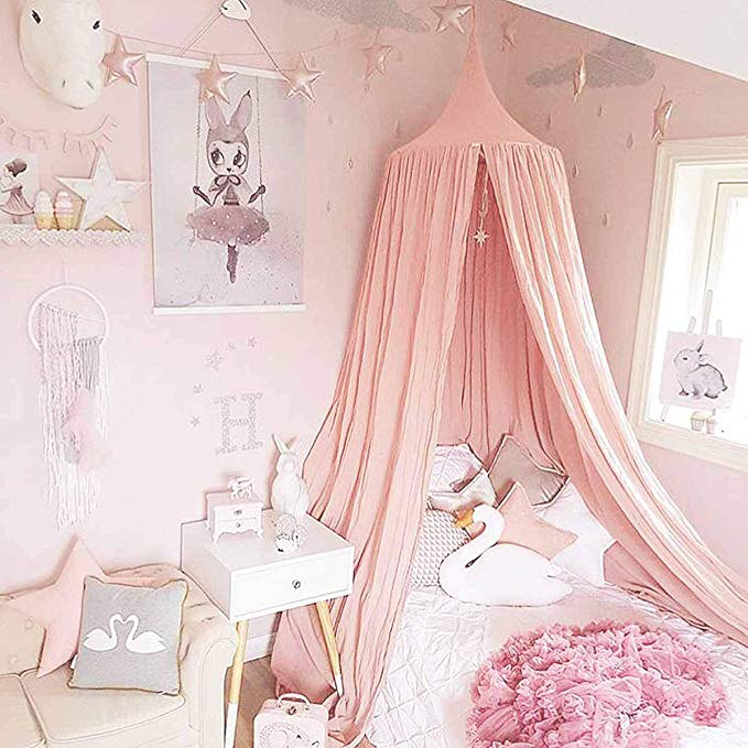 Children Bed Canopy Pink Round Dome Nursery Room Decorations Dix