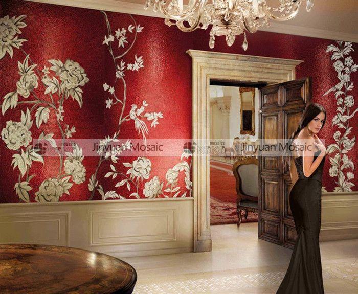 JY-M-S06 Artistic Red Bedroom Glass Backsplash Tile Handmade Flower - exklusive moderne residenz kunstlerischem flair