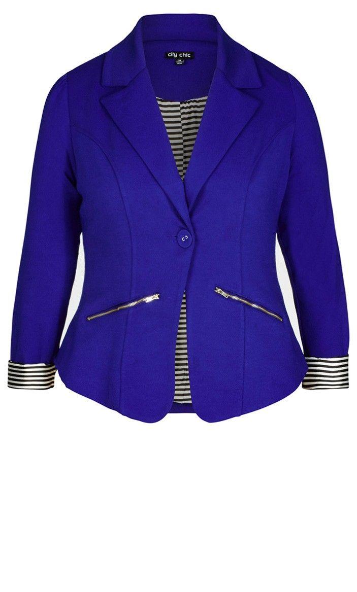 Women's Plus Size Zip Trim Jacket - Royal | City Chic USA