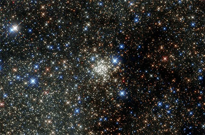 The Arches Cluster is located about 25,000 light-years from Earth in the constellation of Sagittarius (The Archer), close to the heart of our galaxy, the Milky Way. It is, like its neighbor the Quintuplet Cluster, a fairly young astronomical object at between two and four million years old.
