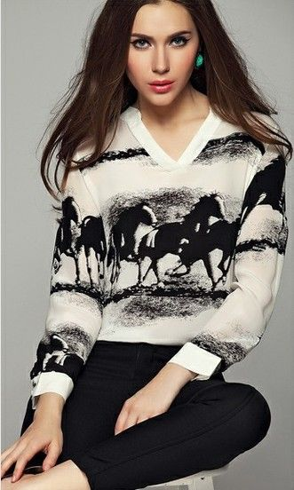Apricot V Neck Long Sleeve Horses Print Blouse pictures
