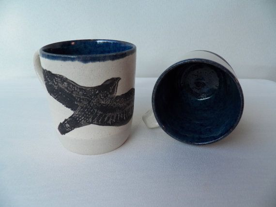 Black Bird Flying Mugs With Deep Blue Interior (set of two)