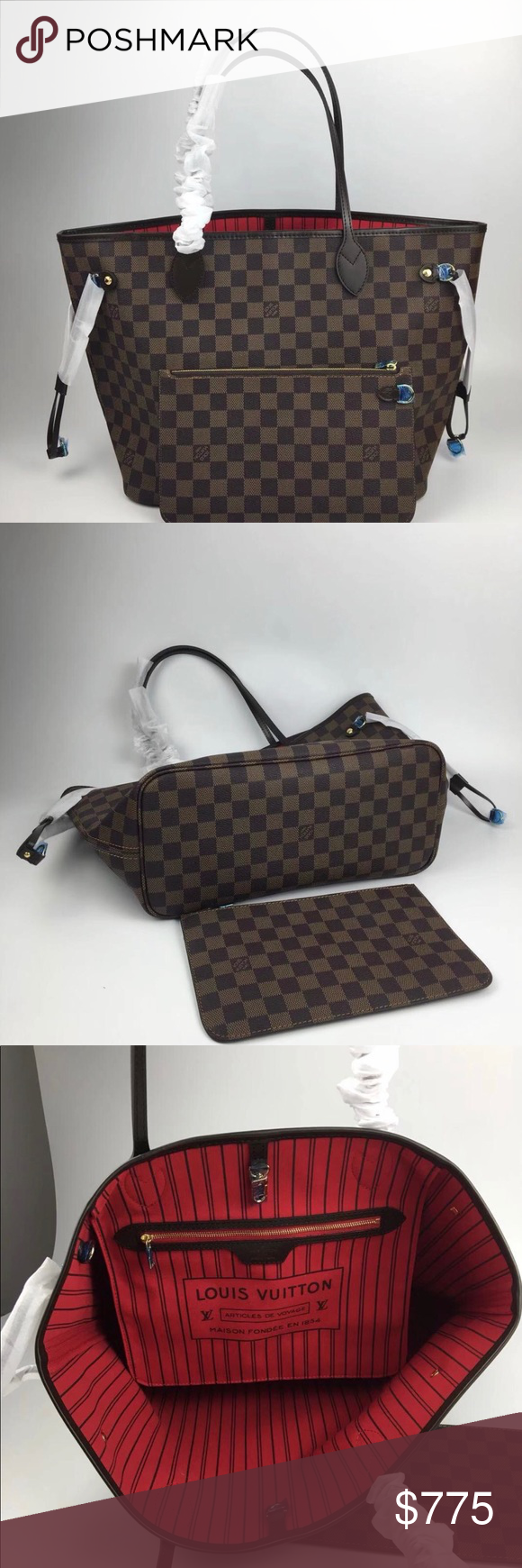 Louis Vuitton Neverfull Mm Mm Size And Lining 32 X 29 X 17 Cm Red Lining Bags Totes Louis Vuitton Neverfull Mm Louis Vuitton Bags