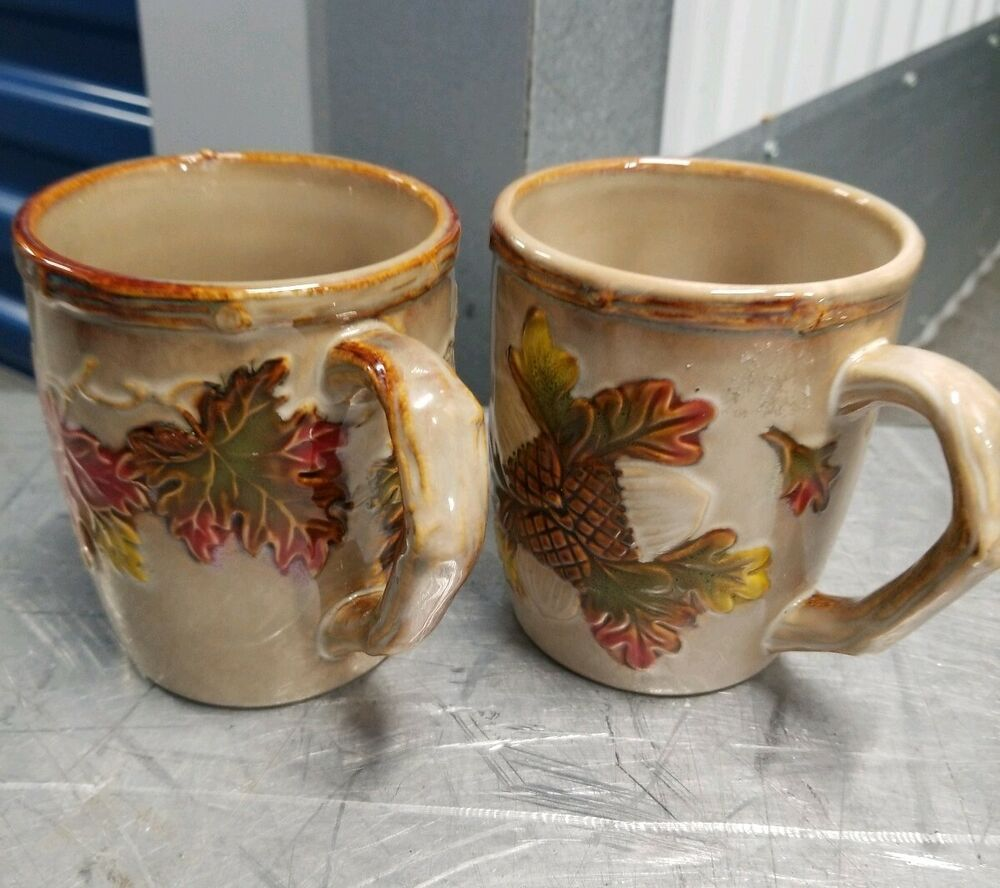 Set Of 2 Preowned Autumn/Fall Leaves Coffee Mugs