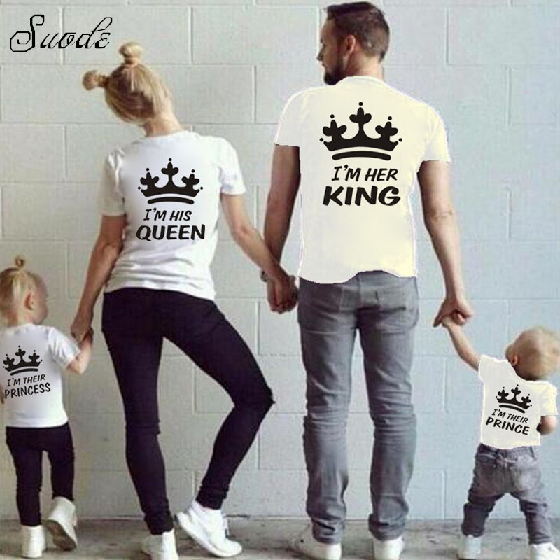 629e112655 2016 Cotton T-shirt For Dad Mon Son Daughter Clothing Mother Father Baby Me Outfits  Family Look KING Family Matching Clothes