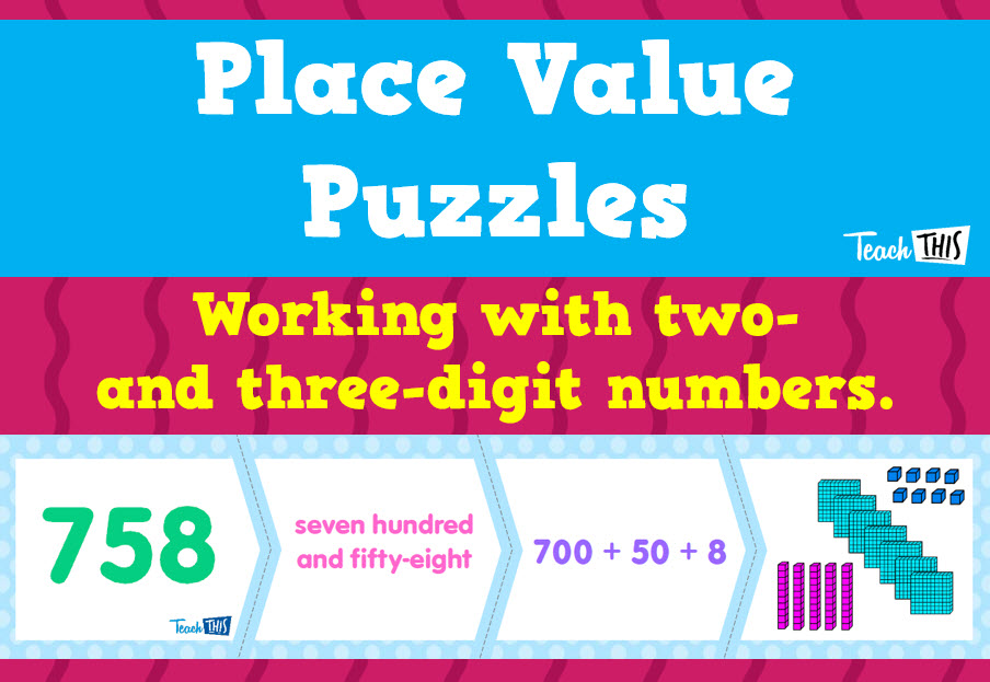 Place Value Puzzles - 2-digit and 3-digit numbers