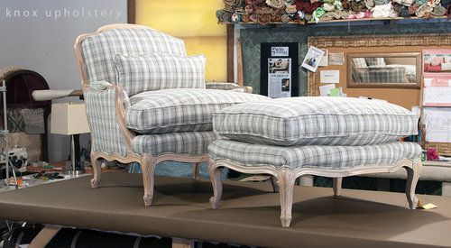 Bergerer Chair And Ottoman Furniture Upholstery Stripe