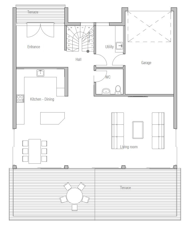 Small Home Plan CH173. 2 floor house.