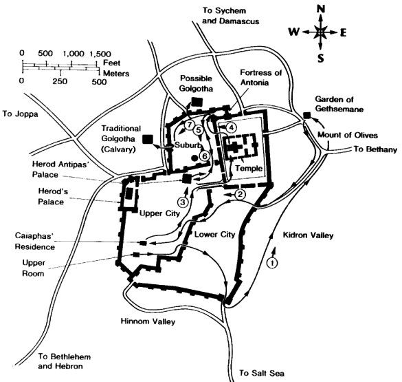 Map Of The Layout Of Jerusalem At The Time Of Christ Showing The