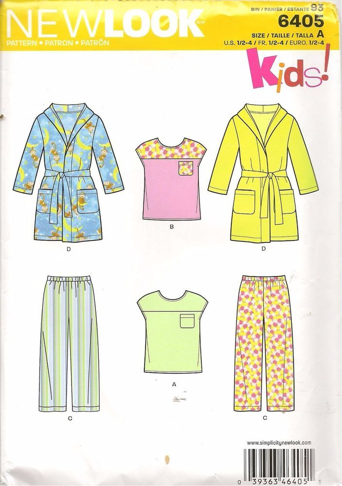 New Look Sewing Pattern 6405 Kids Gown Pajamas Size ½ - 4 | Find It ...