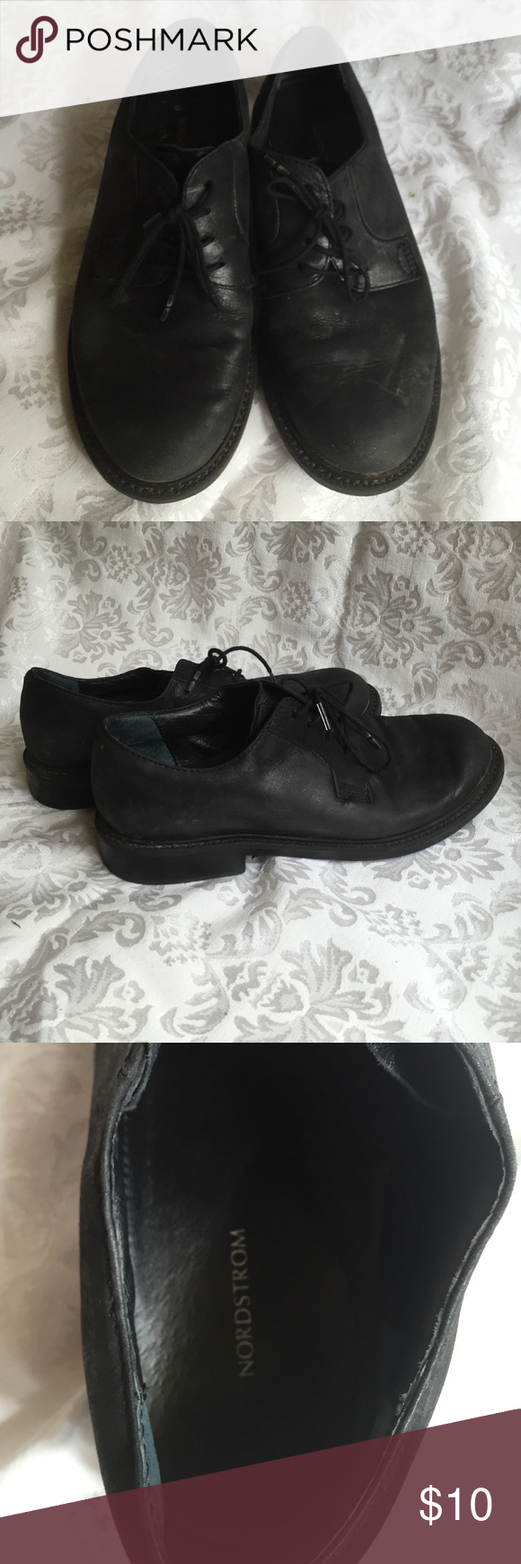Black lace up shoes Comfortable black loafers. No size listed, about a 5.5/6. Nordstrom Shoes Flats & Loafers