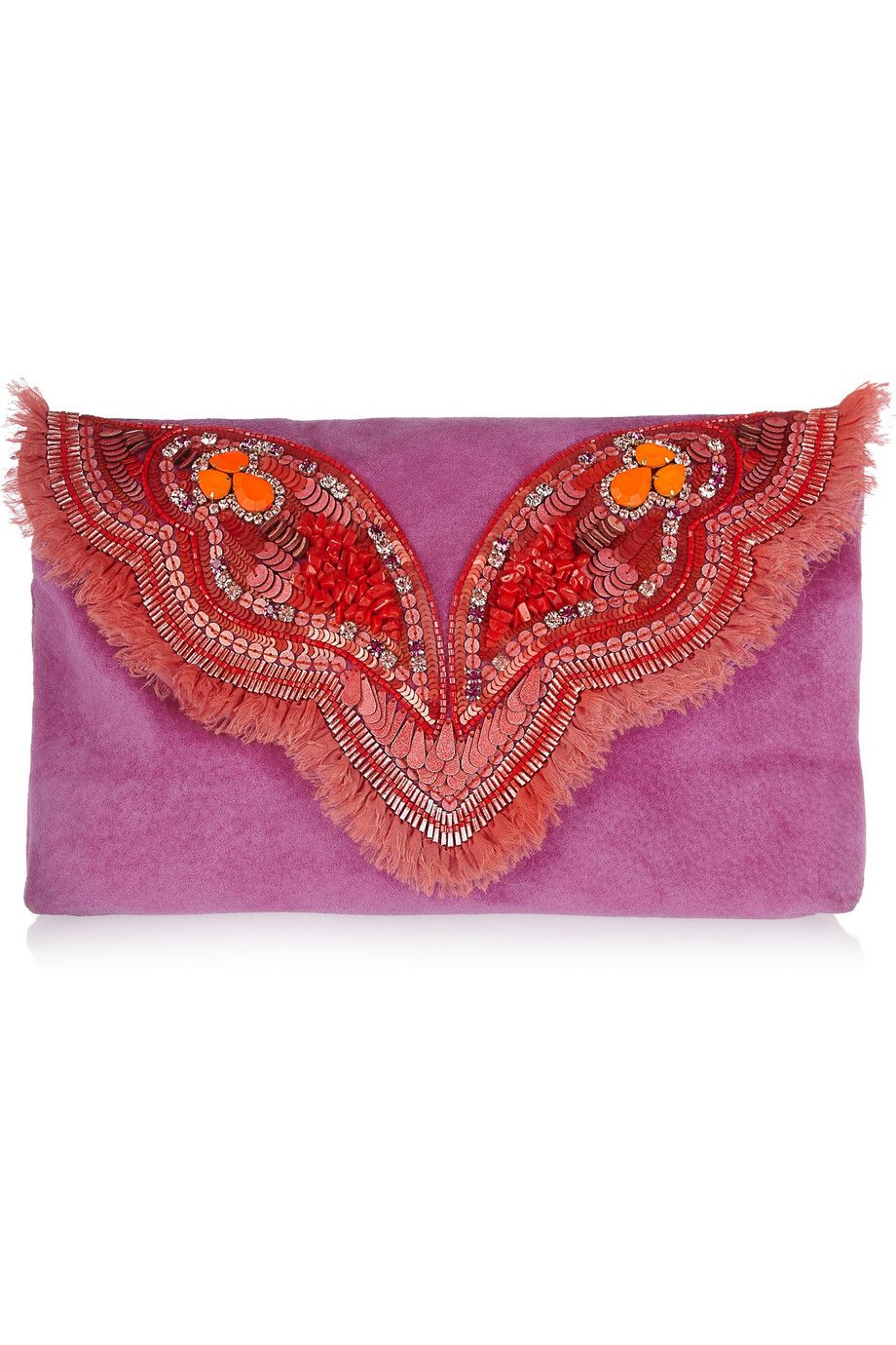 Matthew Williamson | Butterfly embellished suede clutch