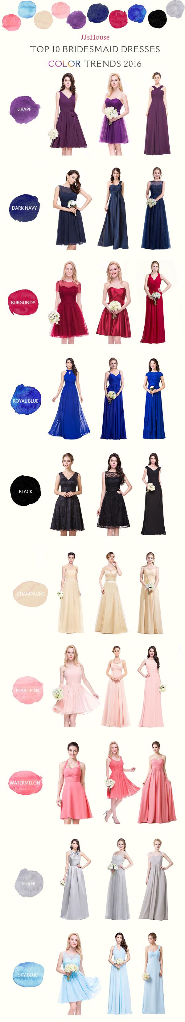 Top 10 2016 Bridesmaid Dress Color Trends Helpful color ...