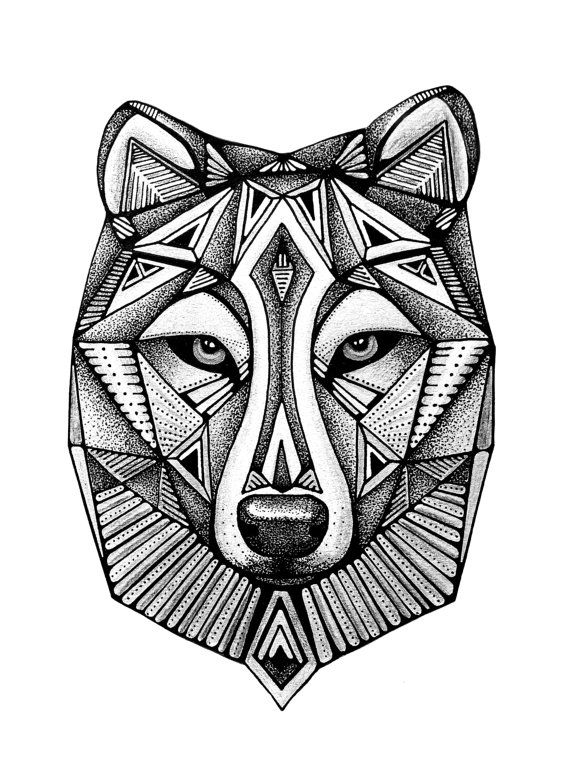 af29ea3dc Wolf Print, Geometric art, Black and White Print, Wolf Face, Wolf Head