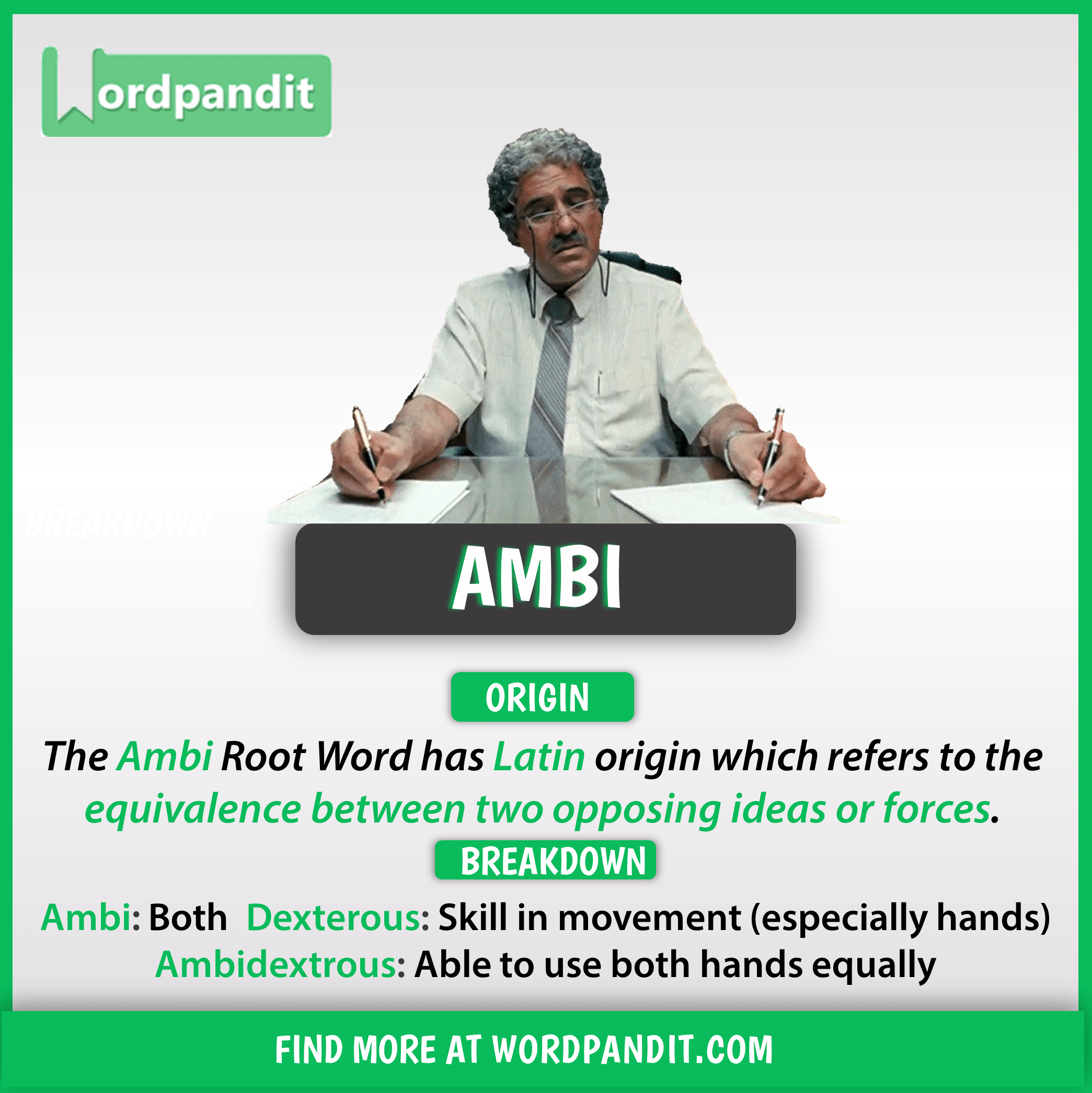 List Of Words Based On Ambi Root Word With Their Meaning